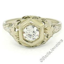 Antique Art Deco 18kt White Gold 0.42 ctw European Diamond Filigree Ring