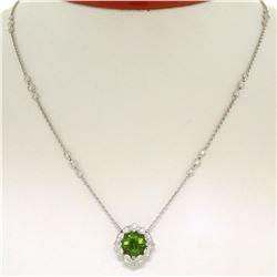 "18K White Gold 16"" 3.12 ctw F VS Diamond Cushion Peridot Flower Cluster Necklace"