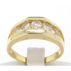 14k Solid Yellow Gold Ladies 0.60 ctw 5 Large Diamond Geometric Band Ring