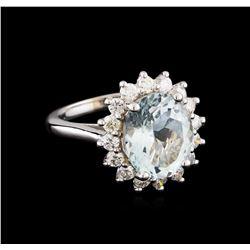 4.28 ctw Aquamarine and Diamond Ring - 14KT White Gold