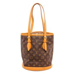 Louis Vuitton Monogram Canvas Leather Petit Bucket PM Bag