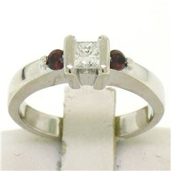 14kt White Gold 0.41 ctw Princess Diamond and Garnet Engagement Ring