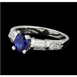 1.00 ctw Sapphire and Diamond Ring - 18KT White Gold