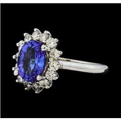 3.02 ctw Tanzanite and Diamond Ring - 14KT White Gold