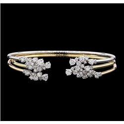 3.34 ctw Diamond Bangle Bracelets - 14KT Yellow, White, and Rose Gold