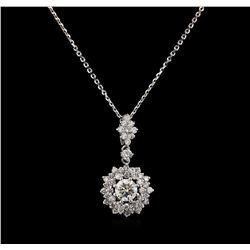 1.10 ctw Diamond Pendant - 14KT White Gold