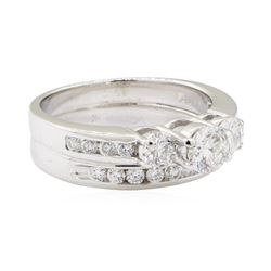 1.80 ctw Diamond Ring Soldered To Wedding Band - 14KT White Gold