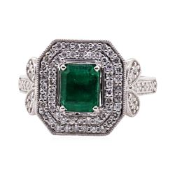 1.15 ctw Emerald and Diamond Ring - 18KT White Gold