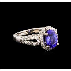 14KT White Gold 2.14 ctw Tanzanite and Diamond Ring