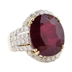 18.60 ctw Ruby and Diamond Ring - 14KT Yellow Gold