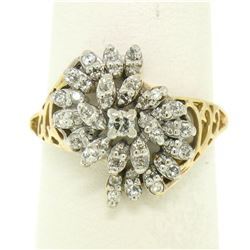 14k Yellow Gold .50 ctw Round Brilliant Diamond Spiral Cluster Ring w/ Open Side
