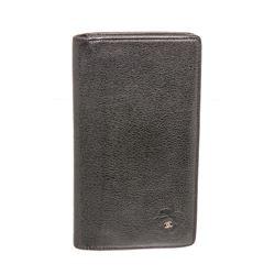 Chanel Black Leather Long Camellia Wallet