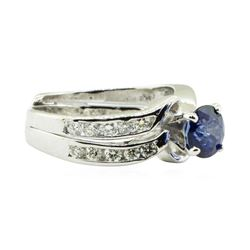 1.59 ctw Round Brilliant Blue Sapphire And Diamond Ring - 14KT White Gold