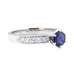 1.17 ctw Blue Sapphire And Diamond Ring - 14KT White Gold