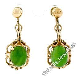 Vintage 14kt Yellow Gold Oval Green Jade Non Pierced Earrings