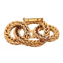 Chanel Gold Woven Chain Link Circles Brooch Pin