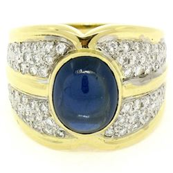 18kt Yellow Gold 6.50 ctw GIA Certified Sapphire and Diamond Wide Band Ring