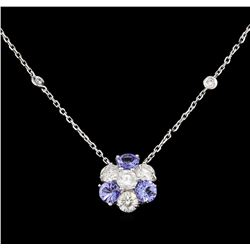 14KT White Gold 1.44 ctw Tanzanite and Diamond Necklace