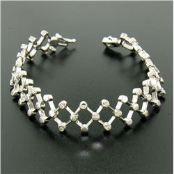 14kt White Gold 0.90 ctw Diamond Open Trellis Bracelet
