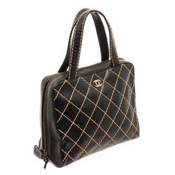 Chanel Black Leather Surpique Bowler Bag