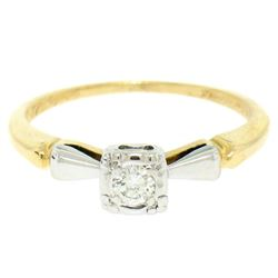 14k Yellow & White Gold 0.14 ctw VS F Diamond Solitaire Engagement Ring