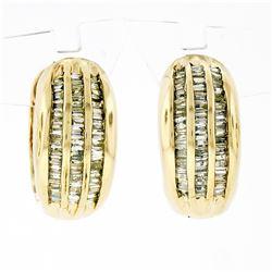 14K Yellow Gold 1.10 ctw 3 Row Channel Baguette Cut Diamond Hoop Huggie Earrings