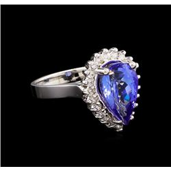4.08 ctw Tanzanite and Diamond Ring - 14KT White Gold