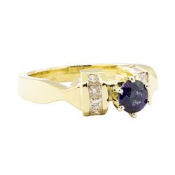 1.18 ctw Blue Sapphire and Diamond Ring - 14KT Yellow Gold