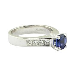 2.01 ctw Round Mixed Blue Sapphire And Diamond Ring - Platinum