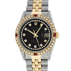 Rolex Mens 2 Tone Black String Diamond Lugs & Ruby Datejust Wristwatch