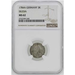 1784-A Germany Silesia 3 Krezuer Coin NGC MS62