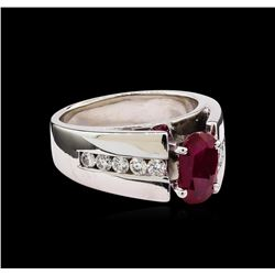 1.39 ctw Ruby and Diamond Ring - 14KT White Gold