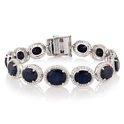 36.08 ctw Blue Sapphire and 3.35 ctw Diamond 14K White Gold Bracelet