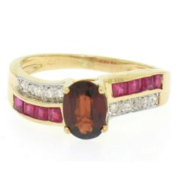 14kt Yellow Gold 1.58 ctw Garnet, Ruby, and Diamond Ring
