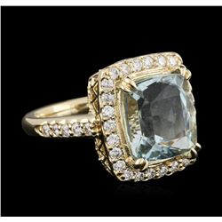14KT Yellow Gold 4.99 ctw Aquamarine and Diamond Ring