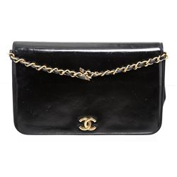 Chanel Black Patent Leather Small Chain Shoulder Bag