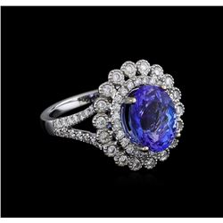 18KT White Gold 3.95 ctw Tanzanite and Diamond Ring