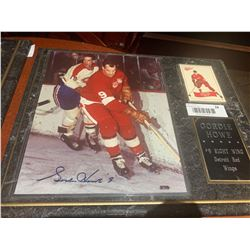 Mounted & Signed Plaque with card of Gordie Howe