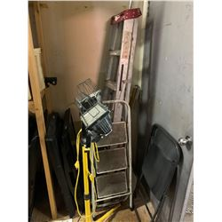 Lot of 3 -- ladders (2) and work light