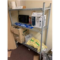 3 shelf wire storage rack with contents