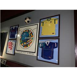 LOT OF 4 - Large Framed soccer jerseys and france98 poster