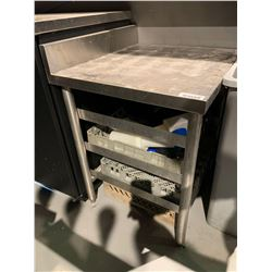 Stainless Steel 24 x 24 inch table with glass racks
