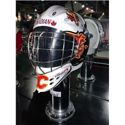 Calgary Flames Goalie Mask on pedestal - buyer must disconnect