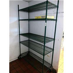 Green Metro rack on wheels 5 shelf