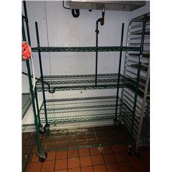 Green Metro rack on wheels 4 shelf