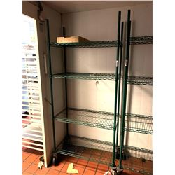 Green Metro rack narrow on wheels 4 shelf
