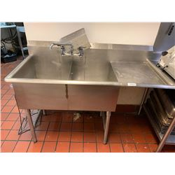 Double Well Stainless Sink with run off & taps