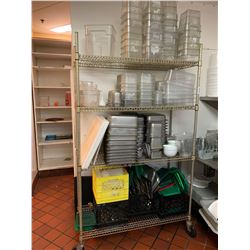 LOT OF - Metro Rack on wheels with contents - inserts, cutting boards, plactic food storage & lids