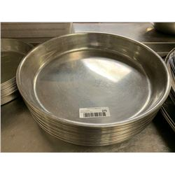 Lot of 24 large round stainless service trays
