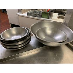 Lot of 14 large stainless mixing bowls